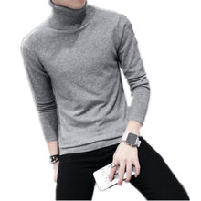 New Fashion Pure Color Cotton Sweater Men Knitted Pullover Sweaters Semi-high-Collar Casual Male Jumper Turtleneck Men's Sweater