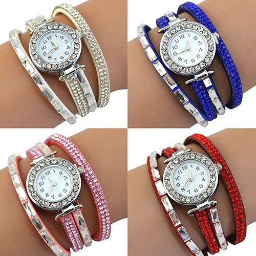 b7d8c68b794e Mujeres Infinity corea del terciopelo rhinestone multilayer pulsera de  cuarzo reloj de pulsera
