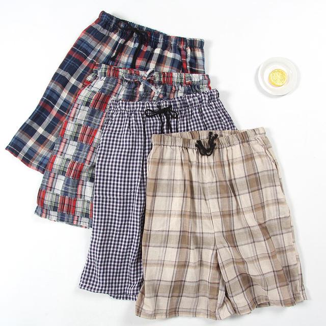 Summer male plus size fresh plaid thin cotton double cotton yarn sleep shorts elastic waist night shorts