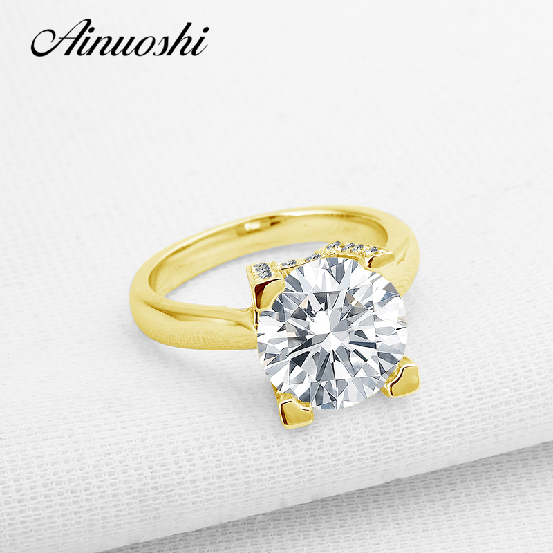 AINUOSHI Luxury Yellow Gold Solitaire Ring 10K Solid Gold for Women Engagement Ring Bridal Band High Setting Lovrs Wedding Ring