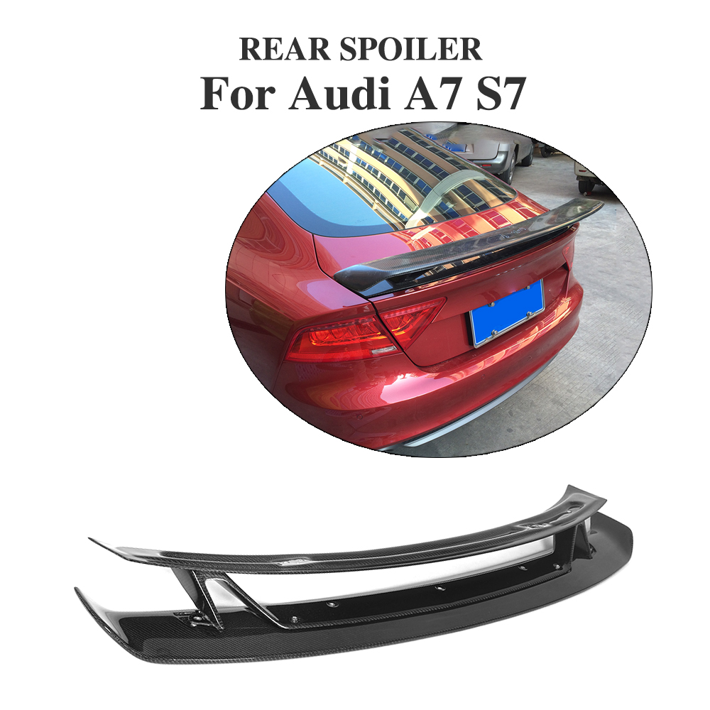 Carbon Fiber Rear Trunk Boot Spoiler Lip Wing For Audi A7 S7 RS7 2007-12 double-deck Custom Spoiler Car Tuning Parts carbon fiber rear spoiler trunk boot wing for audi a7 s7 s line 2012 2015 jc style car tuning parts