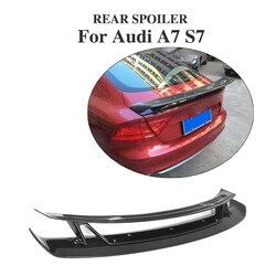 Z włókna węglowego tylny Trunk Boot Spoiler skrzydło dla Audi A7 S7 RS7 2007-12 double-deck niestandardowe spoiler samochodu części do tuningu