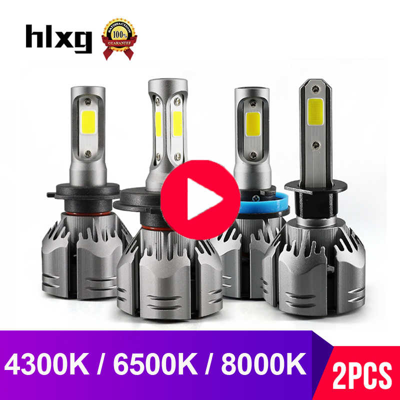 hlxg 2PCS 3000K 6500K 4300K 8000K H4 LED H7 Canbus No Error H1 H3 H11 LED H8 Fog Lamp HB4 9005 HB3 Car Headlight Bulbs 12V 24V