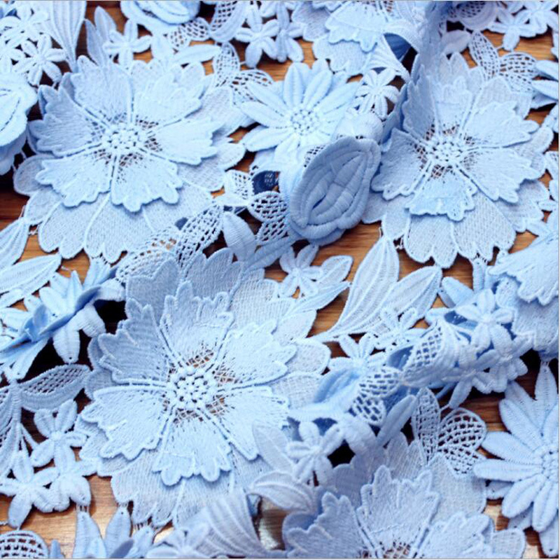 Blue And Pink Embroidered Mesh Lace Fabric Fashion Cotton Fabric For Dress Tissu au Metre Pour Habillement DIY Fabrics Cloth