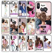 Ruicaica Black baby super mother DIY Luxury High-end Protector Case for Xiaomi Mi Note 3 6 8 8SE MIX 2 2S Redmi 5 Plus Note 5 mi note 2 black