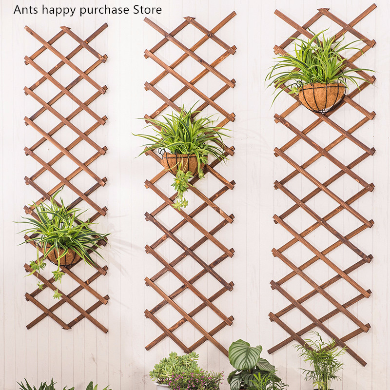 Expanding wood Garden Wall Fence Panel Plant Climb Trellis Support Decorative Garden Fence Home Yard Decoration Anticorrosive