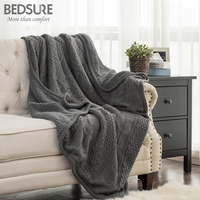 Bedsure Knit Sherpa Throw Blanket Fuzzy Microfiber Fleece Soft Blankets For Bed Couch All Season 50x60