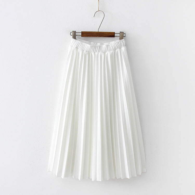 2019 Summer New Women Fashion Skirts High Waist Elascity Casual Solid Pleated Chiffon Party Skirt