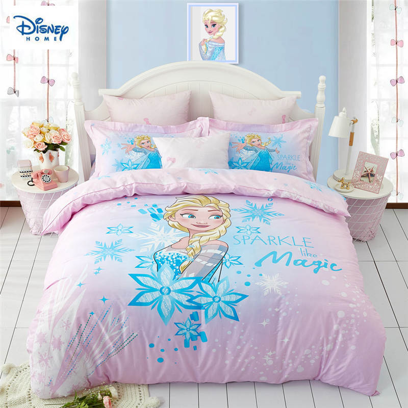 US $71.48 30% OFF|Frozen Elsa bedding set for kids comforter duvet covers  twin size bedroom decor queen bed sheets cotton bedspread 3 5 pcs girls-in  ...
