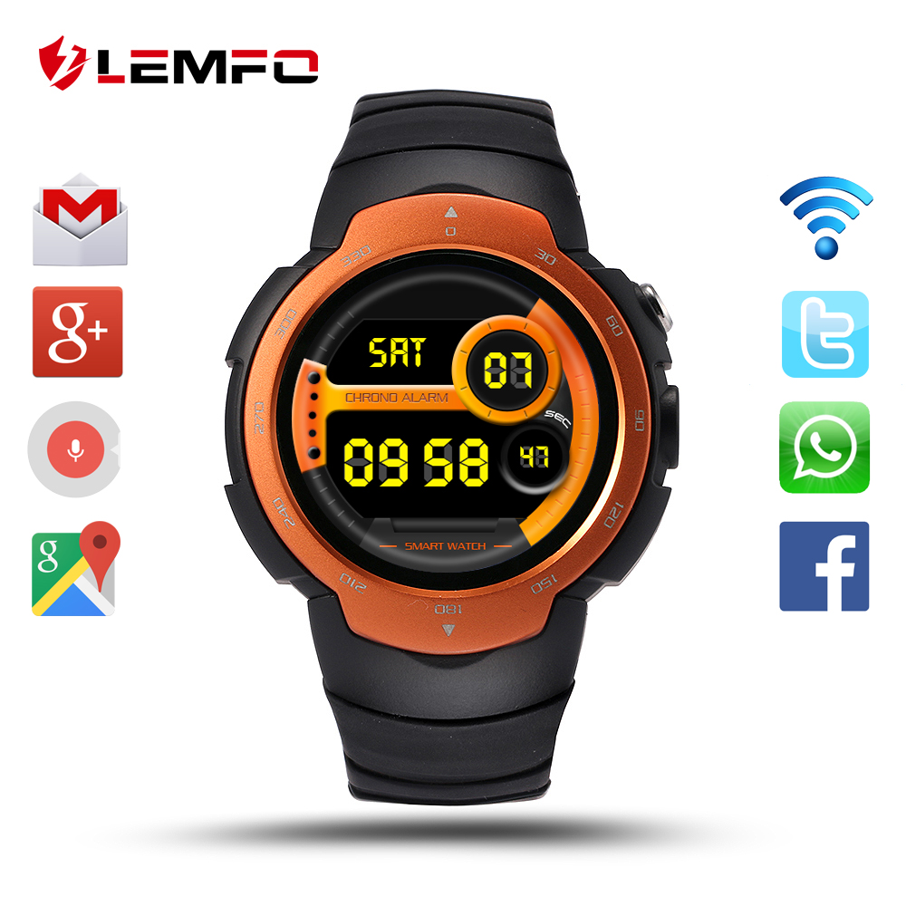 Lemfo LEM3 Android 5.1 OS Smart Watch Support 3G wifi Nano SIM Card Google Voice GPS Map Weather Search Bluetooth Smartwatch smart baby watch q60s детские часы с gps голубые