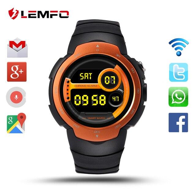 Lemfo lem3 android 5.1 os смарт-часы поддержка 3 г wi-fi нано SIM-карты google voice gps карта погода поиск bluetooth смарт-часов