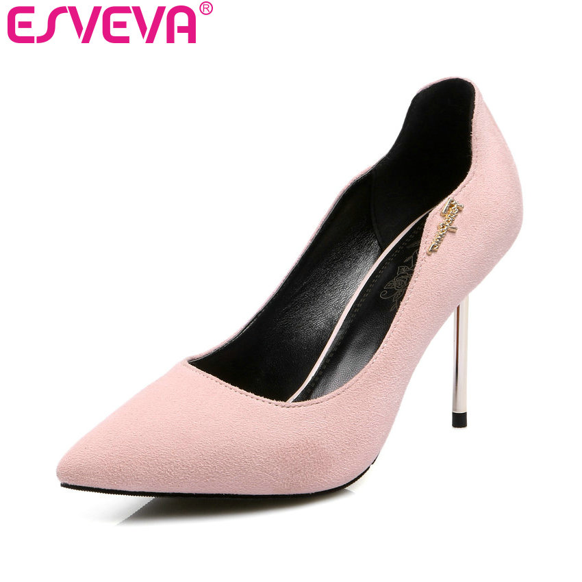 ESVEVA 2017  Western Style Concise Pointed Toe Pink Women Pumps  Party Thin High Heel Pumps Women's Wedding Shoes Big Size 34-43 doratasia denim eourpean style big size 33 43 pointed toe women shoes sexy thin high heel brand design lady pumps party wedding