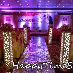 115*20*20cm de lujo Pilar grabado para bodas Navidad camino de plomo flor Stand con luz LED incorporada