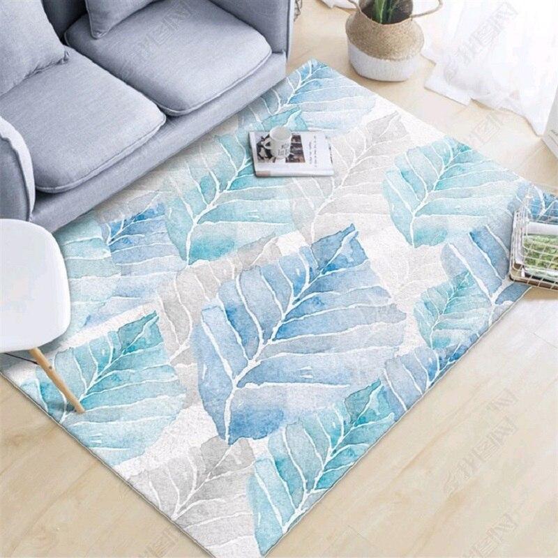 Feuilles nordiques vert encre peinture tapis salon canapé tapis chambre chevet tapis antidérapant velours imprimé tapis de sol personnaliser