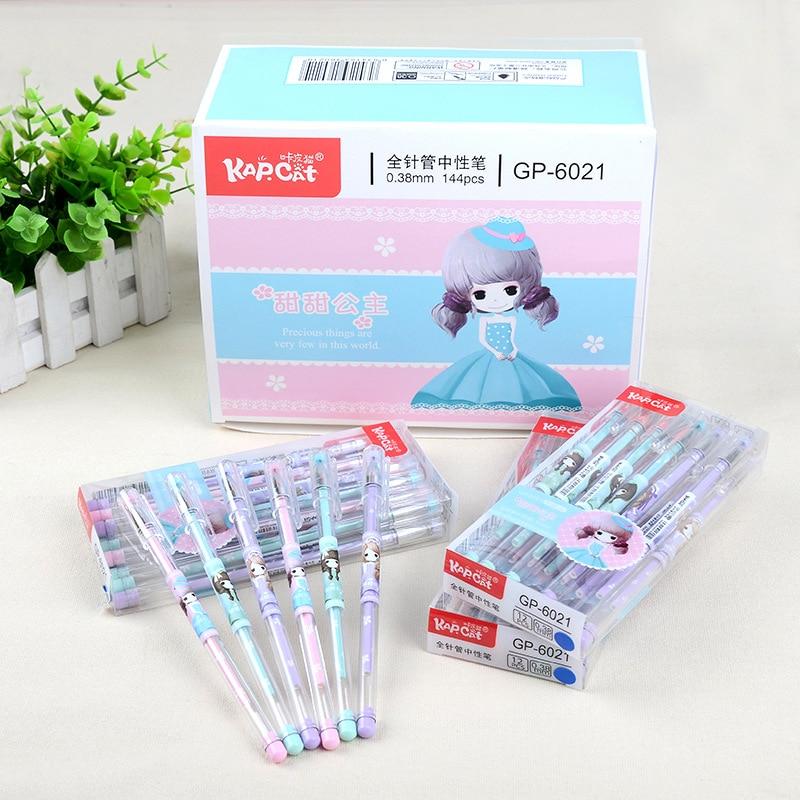 3 pcs Gel Pens Cute Girl kawaii gift Blue Ink gel-ink pens for writing Cute stationery office school supplies 0.38mm