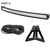 Marloo For 1984 2001 Jeep XJ Cherokee Upper Roof Windshield A pillar Mounting Brackets With 50Inch 288W Curved LED Light Bar