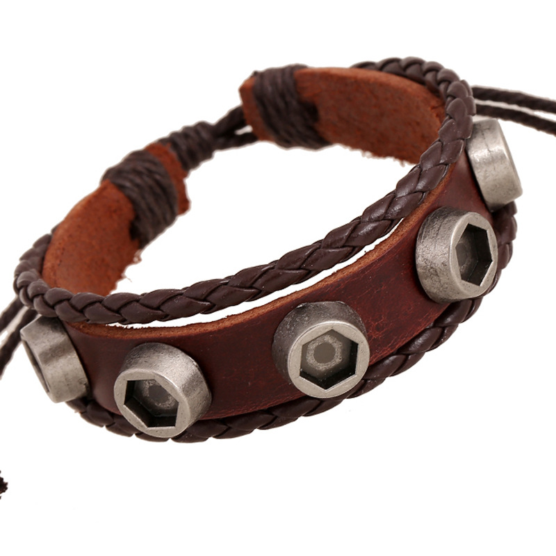 Punk Style Genuine Leather Male Bracelets Braided Woven Rope Wrap Wristband Party Jewelry Unisex Rivets Leather Women Wristband