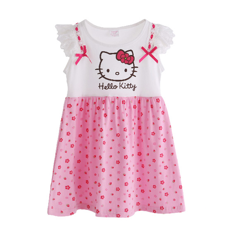 Fashion Girls Dresses Summer Cartoon Cat Toddler Girls Dress Hello Kitty Printed Kids Clothes Pink Color Girls Clothing T6130 menoea girls dress new 2018 clothes 100% summer fashion style cartoon cute little white cartoon dress kitten printed dress