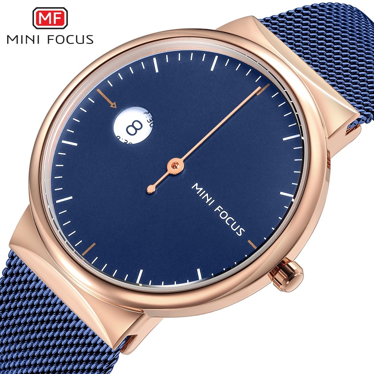 MINIFOCUS Brand Luxury Blue Quartz Watch Men Ultra Thin Steel Mesh Strap Auto Date Unique Single Hand Fashion Simple Wristwatches