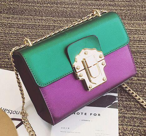 Bright color splicing hit color lock chain chain bag ladies fashion new shoulder diagonal cross bag