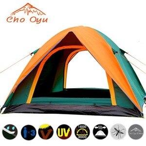 Image 3 - 3 4人防風キャンプテントデュアル重層防水抗uv観光テント用ビーチ旅行4シーズンテント