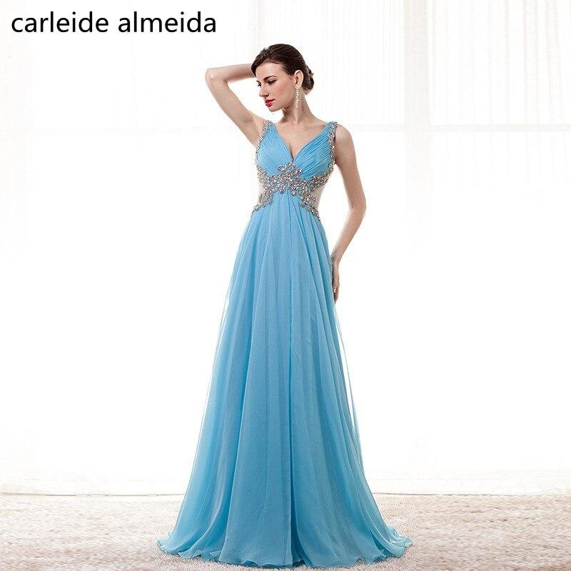 A-ligne mousseline de soie et Tulle bleu robes de bal profonde col en v cristal corsage Vestido de festa longo femmes robe formelle Gala jurken