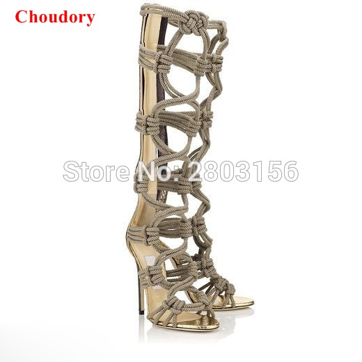Summer Knee High Gladiator Sandals Boots Women Sexy Peep Toe Cut Out Boots High Heel Sandal Boots Shoes Woman цены