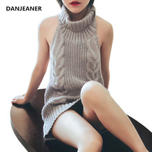 Danjeaner Sexy Off Shoulder Sleeveless Turtleneck Pullovers Women Backless Solid Knitted Sweaters Long Jumpers Winter Tops