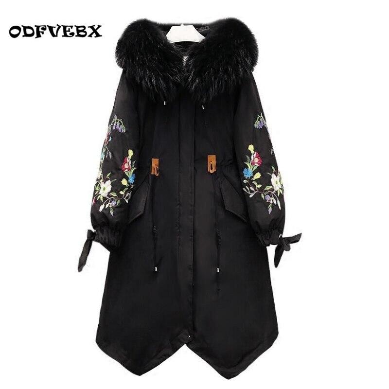 Hiver grande taille femmes coton manteau moyen long nouveau genou graisse MM sœur coton vers le bas manteau femelle haut de gamme épaississent veste manteau HY19