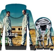 Breaking Bad Jacket Men Heisenberg Hoodie Walter White Sweatshirt Winter Thick Fleece Zip up 3D Print Coat Plus Size 5XL Youth