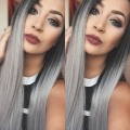 Hot Selling 1B/Gray Lace Front Wig Ombre Two Tone color Silky Straight Heat Resistant Synthetic Lace Front Wig Japanese Fiber