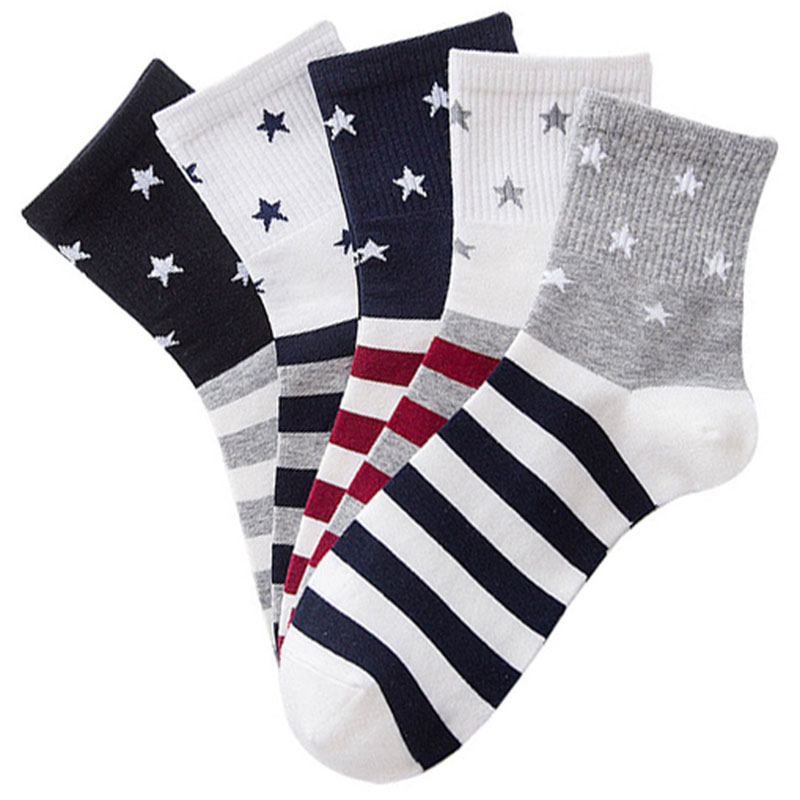 5pairs Four Seasons Men New Tube Comfort Fashion Mens Socks Pentagonal Star Striped Cotton Socks British Funny Trend Sock Meias
