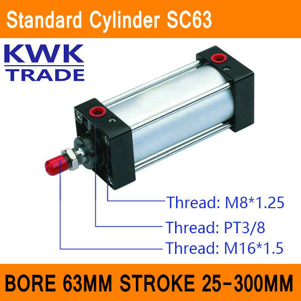 SC63 Standard Air Cylinders Valve CE ISO Bore 63mm Strock 25mm to 300mm Stroke Single Rod Double Acting Pneumatic Cylinder sc100 standard air cylinders valve ce iso bore 100mm strock 350mm to 1000mm stroke single rod double acting pneumatic cylinder