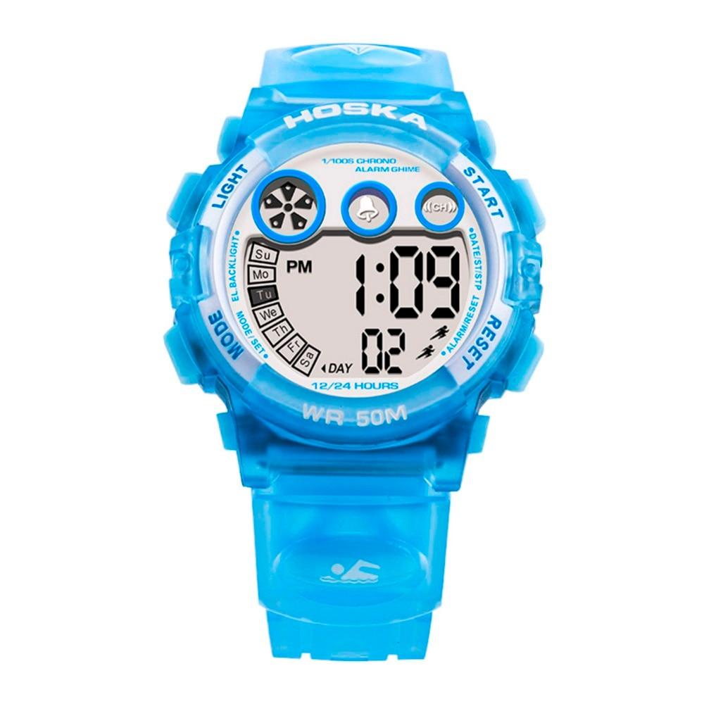 HOSKA Top Brand Girl Child Digital Wristwatches 50M Waterproof Sports Swimming Watches Multi function Alarm Clock