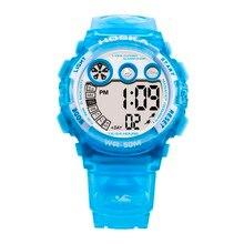 Hoska top niñas de la marca digital de pulsera 50 m impermeable de los deportes de natación relojes de múltiples funciones reloj despertador led reloj