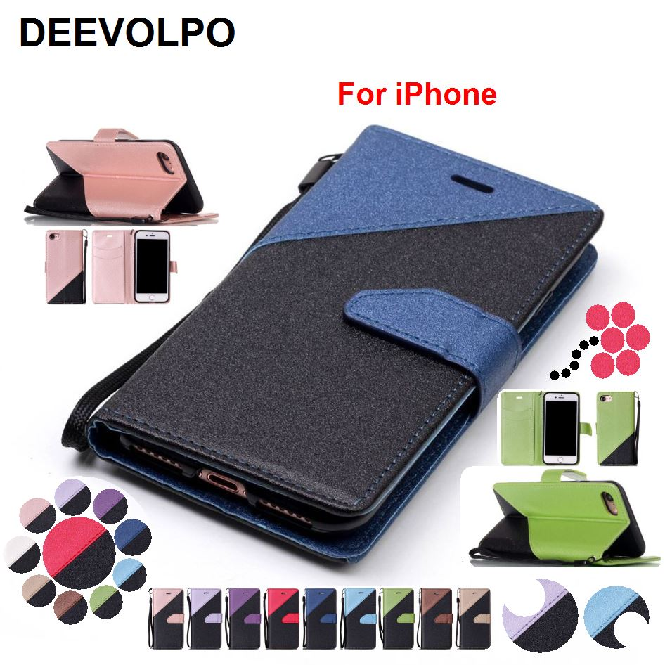 DEEVOLPO Leather Coque Hit Color Cases For iPhone X 8 7 6S 6 Plus 5 5S SE Flash Powder Retro Phone Bags Card Slot Magnetic DP09Z