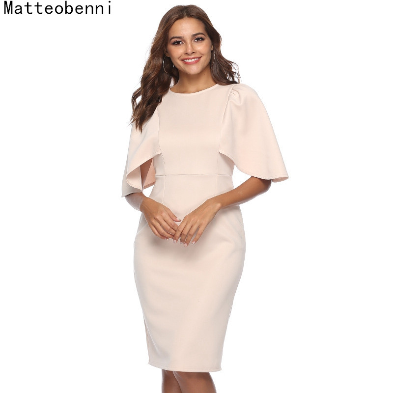 Women Elegant Ruffle Sleeve Ruched Pinup Vestidos Party Wear To Work Fitted Stretch Slim Wiggle Pencil Sheath Bodycon Dress Suit