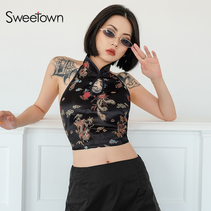Sweetown Vintage Drachen Stickerei Bralette Crop Top Frauen Sommer 2018 Lace Up Halter Tops Sexy Backless Hohl Bandage Tank Top