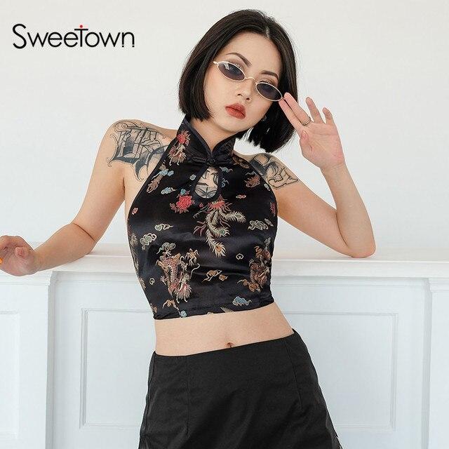 Sweetown Vintage Thêu Rồng Áo Bralette Áo Crop Top Nữ Hè 2018 Phối Ren Dây Áo Sexy Hở Lưng Rỗng Băng Bể
