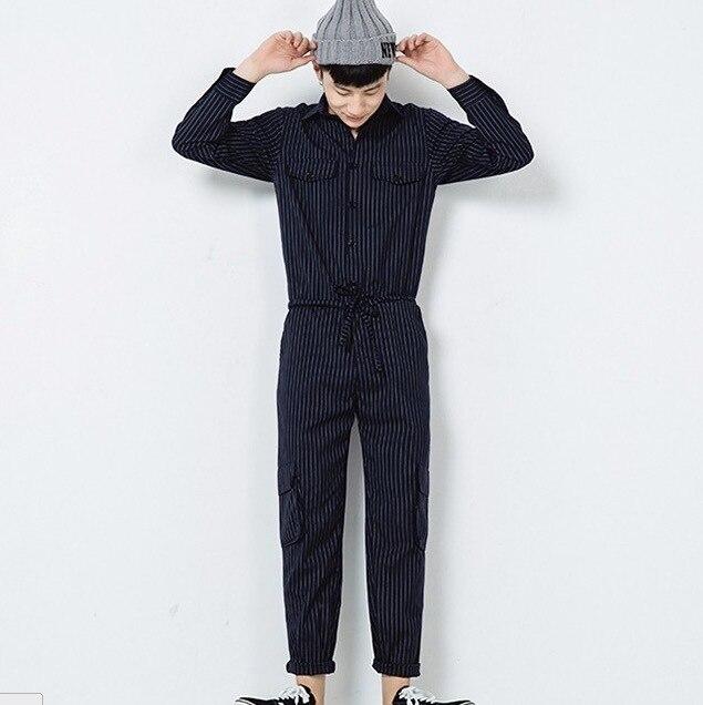 2016 Marca de Moda de Corea Pantalones Masculinos de Los Hombres de Carga Pantalones Joggers Negro Blanco A Rayas de Color Caqui Guardapolvos Hombre Pantalones Del Mono