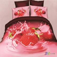 Modern Design 3D Strawberry Bedding Set Queen King Cotton Bedlinen Pillowcase Duvet Cover Bed in a Bag Free Shipping Some Areas
