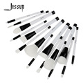 Jessup 15Pcs Balck/White Professional Make up Brushes Set Foundation Blusher Powder Eyeshadow Blending Eyebrow Cosmetics Brushes