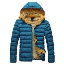 2016 Мода с шляпу молнии короткие ветровка случайные хлопка куртка сгустите теплый пиджаки Вниз & Ветровки мужские зимние пальто