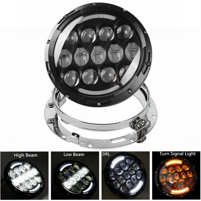 7 Inch 105W Harley Motocycle LED <font><b>Headlight</b></font> with Extension Adapter Ring Mounting Bracket for Harley Touring Bikes