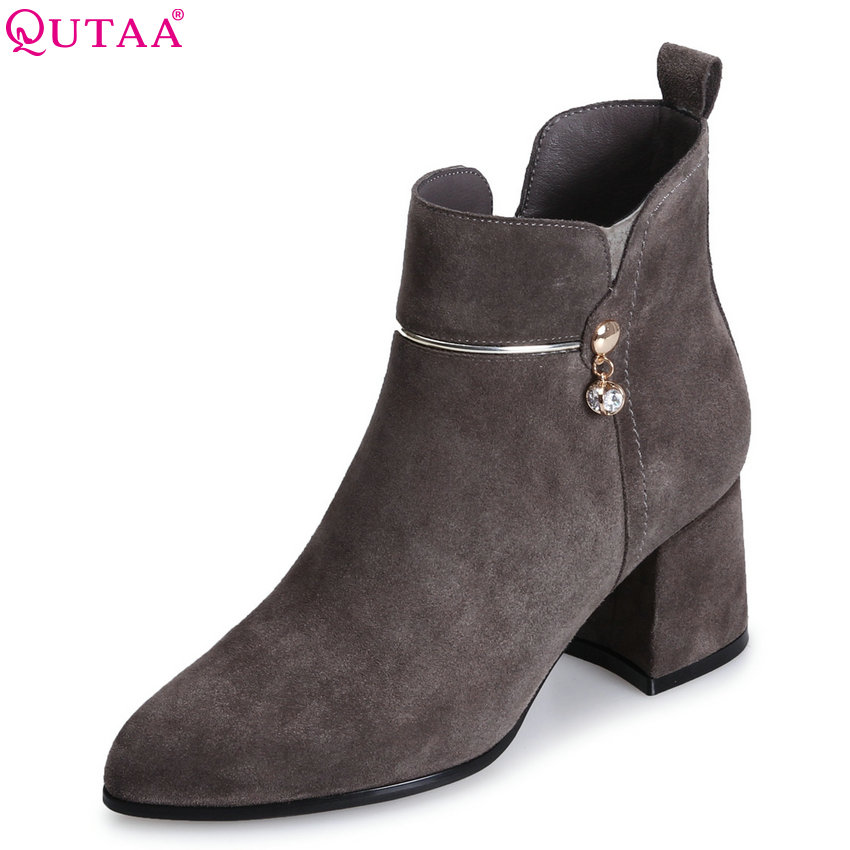 QUTAA 2018 Women Ankle Boots Fashion Pointed Toe Zipper High Quality Westrn Style Square High Heel Women Boots Size  34-39 qutaa 2018 women ankle boots cow suedezipper fashion pointed toe all match square high heel high quality women boots size 34 39