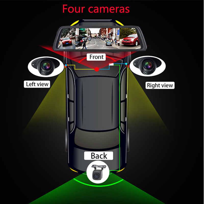 "Jiluxing D12S أربعة كاميرات 10 ""4G سيارة كاميرا مرآة 1080 P الروبوت GPS والملاحة جهاز تسجيل فيديو رقمي للسيارات مسجل فيديو أداس WIFI داش كاميرات"