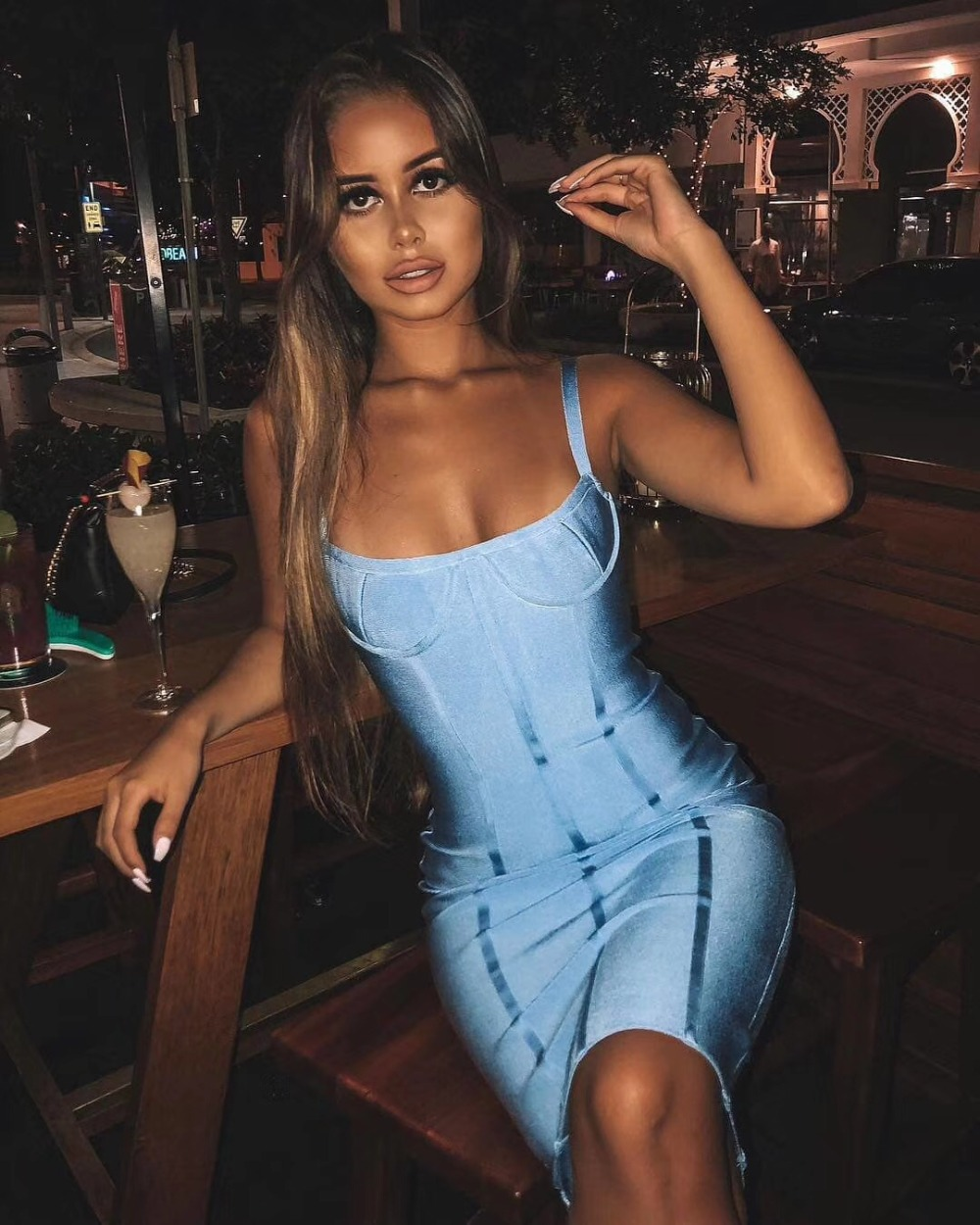 New Arrival Sexy Backless Blue Bandage Dress 2018 Designer Fashion Dress Vestido