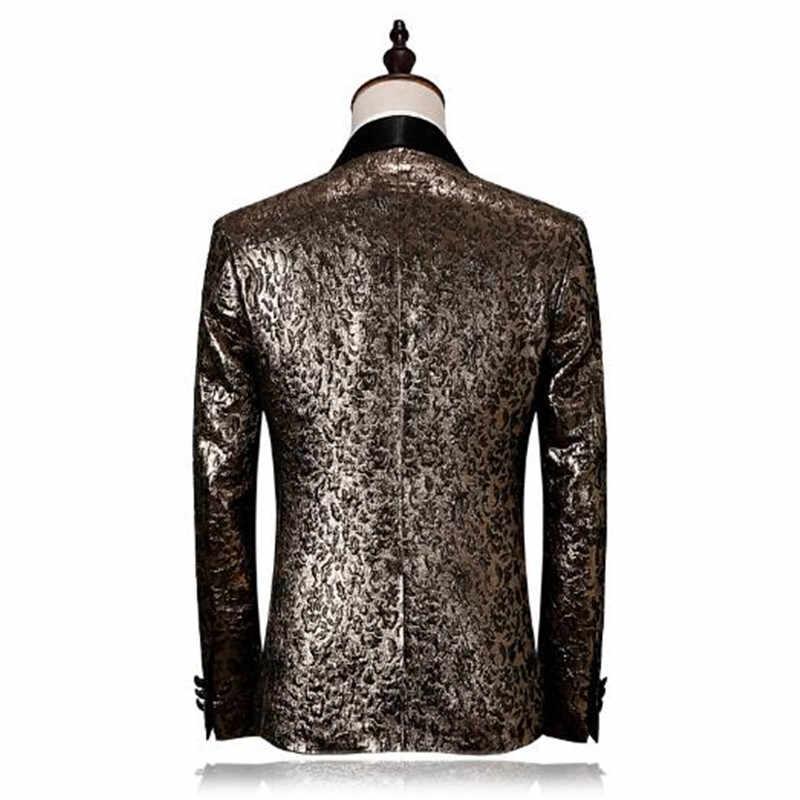 2018 черные Золото смокинг Элитный бренд мужские этап одежда модные дизайнерские костюмы для выпускного M-4XL