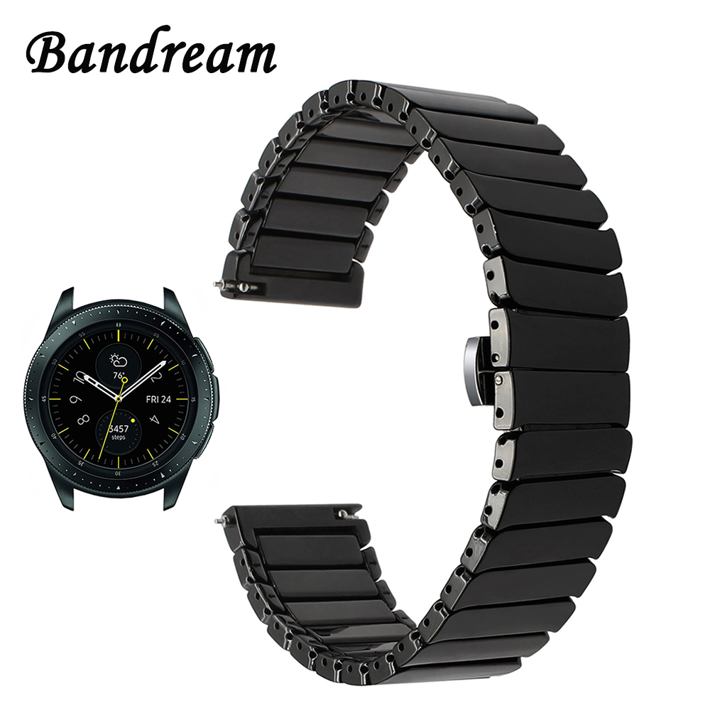 Full Ceramic Watchband 20mm 22mm for Samsung Galaxy Watch 42mm 46mm SM-R810/R800 Quick Release Band Steel Butterfly Buckle StrapFull Ceramic Watchband 20mm 22mm for Samsung Galaxy Watch 42mm 46mm SM-R810/R800 Quick Release Band Steel Butterfly Buckle Strap