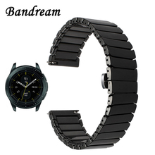 Full Ceramic Watchband 20mm 22mm for Samsung Galaxy Watch 42mm 46mm SM R810/R800 Quick Release Band Steel Butterfly Buckle Strap